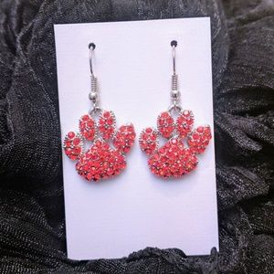Red Paw Crystals Embellished Earrings